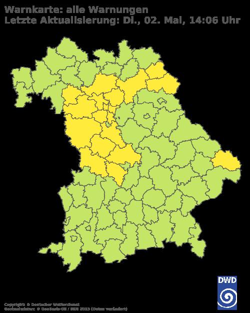 Aktuelle Wetterwarnungen für Bad Tölz-Wolfratshausen