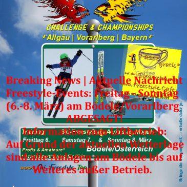 Ski-Freestyle-Events: Freitag bis Sonntag (6.-8. März) am Bödele/Vorarlberg  – •  – ABGESAGT!